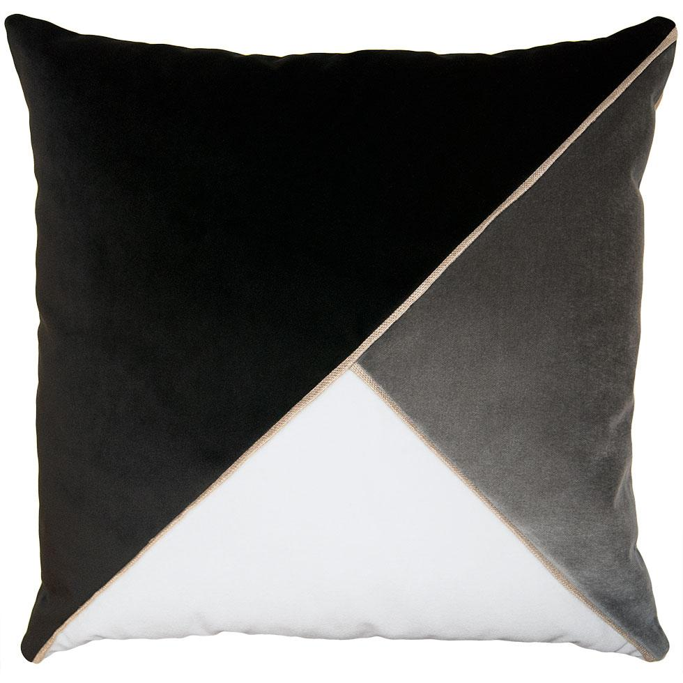Harlow Black throw pillow with tri-color triangular pattern from Square Feathers