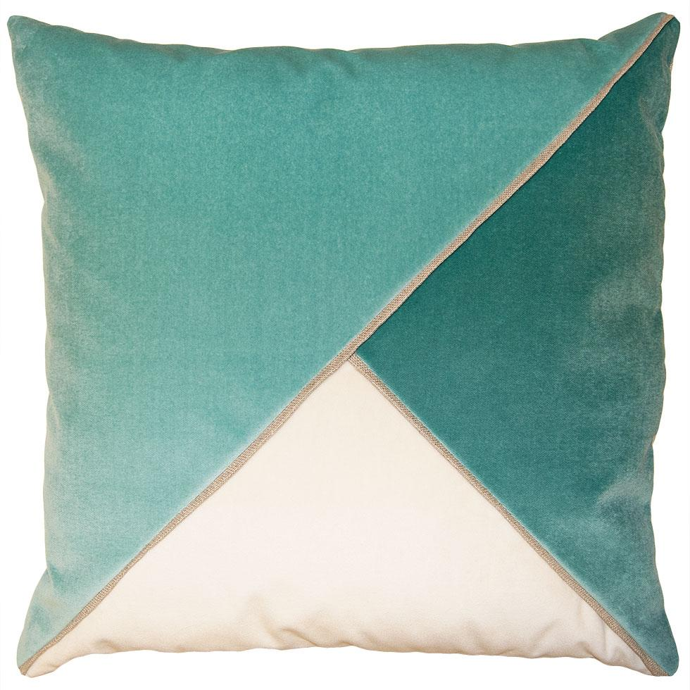 Harlow Breeze throw pillow with tri-color triangular pattern from Square Feathers