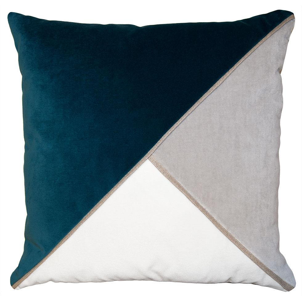 Harlow Cyan throw pillow with tri-color triangular pattern from Square Feathers
