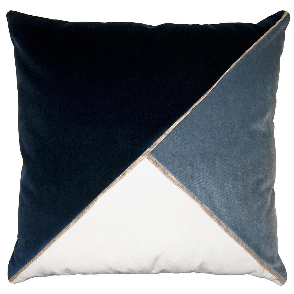 Harlow Indigo throw pillow with tri-color triangular pattern from Square Feathers