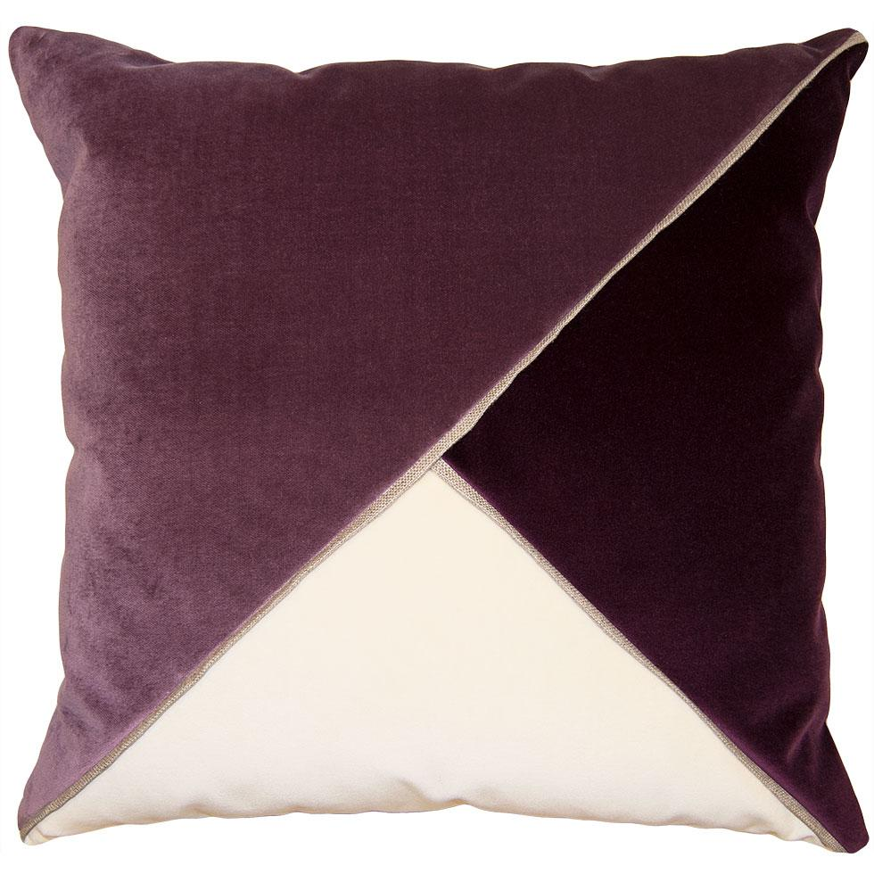 Harlow Orchid throw pillow with tri-color triangular pattern from Square Feathers
