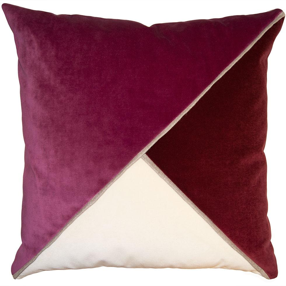 Harlow Sangria throw pillow with tri-color triangular pattern from Square Feathers