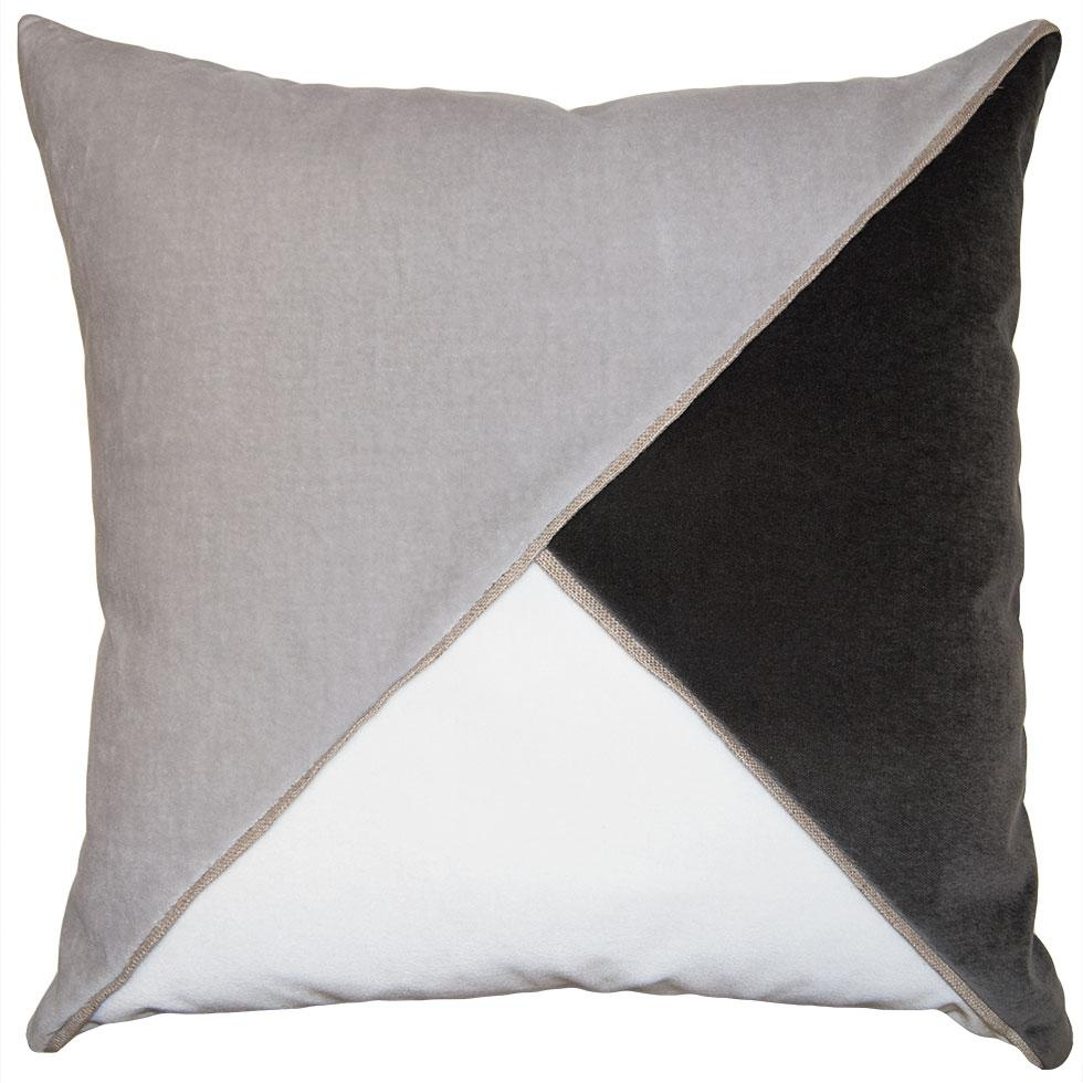 Harlow Sharkskin throw pillow with tri-color triangular pattern from Square Feathers