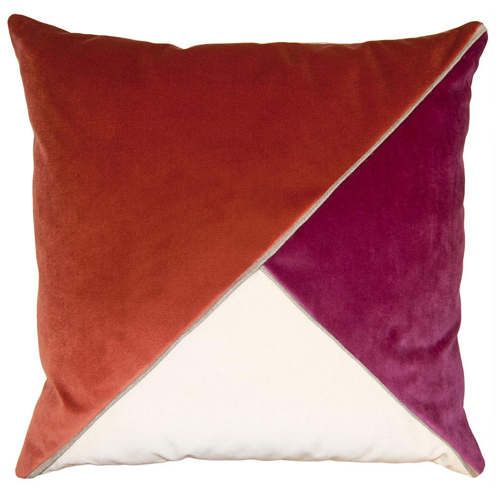 Harlow Shrimp throw pillow with tri-color triangular pattern from Square Feathers