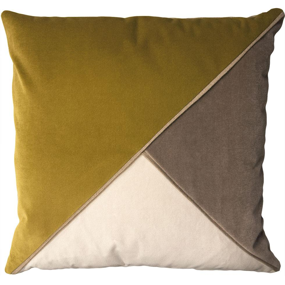 Harlow Wasabi throw pillow tri-color triangular pattern from Square Feathers