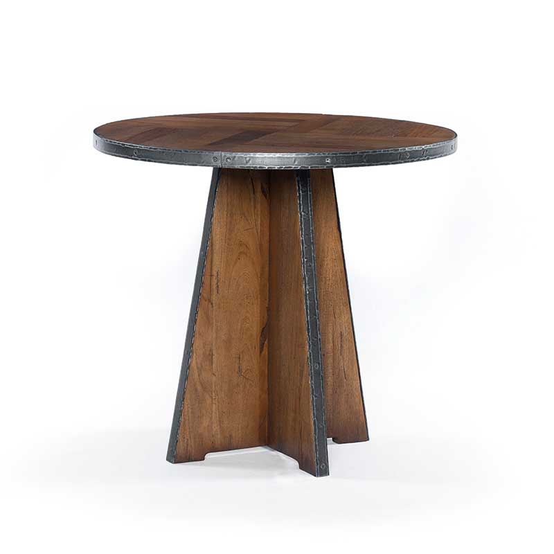 Haven End Table from Four Hands reclaimed Fruitwood with iron