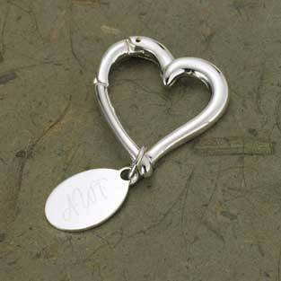Heart Keychain with Oval Tag Personalized