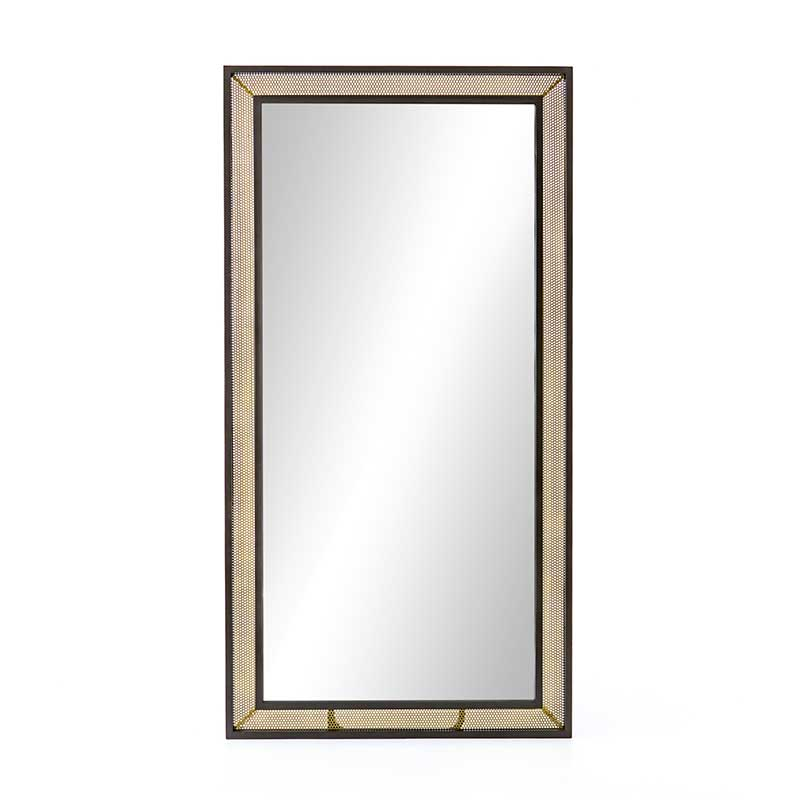 Hendrick Floor Mirror with perforated brass frame from Four Hands