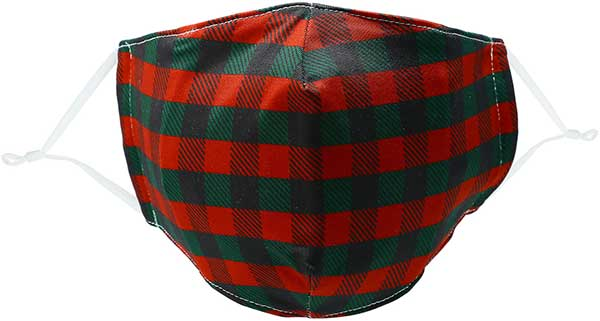 Holiday Plaid adult face mask in red and green reusable mask