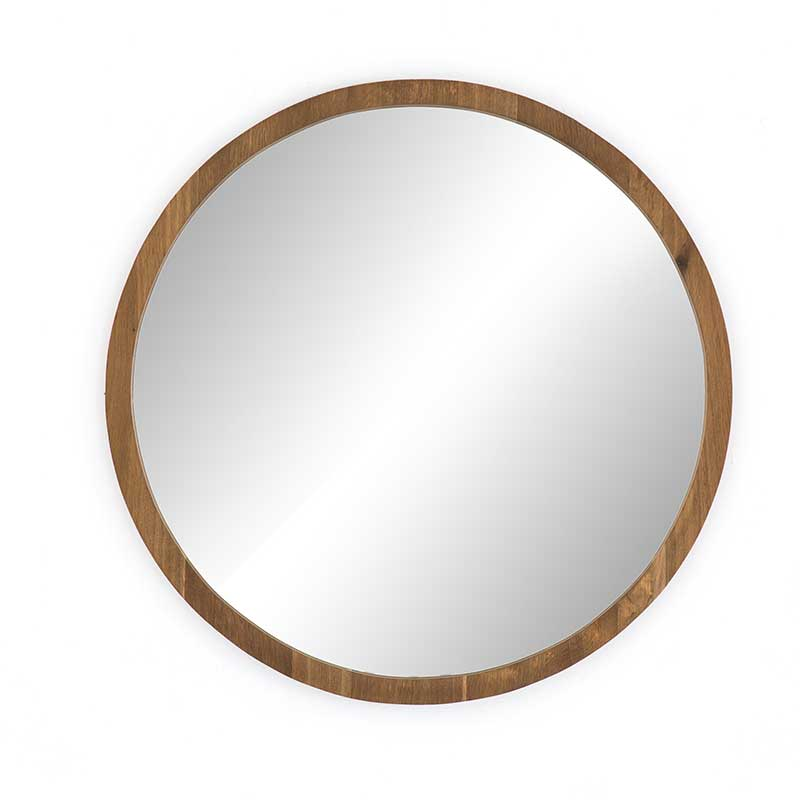 Holland Round Mirror with smoked oak frame from Four Hands