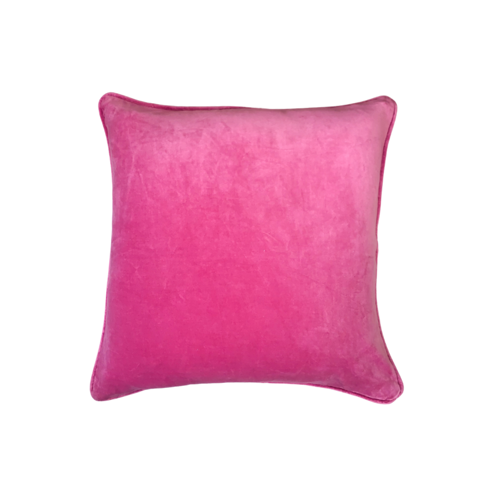 Hot Pink Velvet Pillow from Laura Park Designs, square