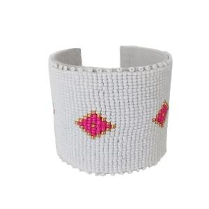 Palm Pink Beaded Cuff Bracelet by Laura Park Designs