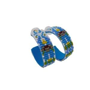 Park Avenue Beaded Loop Earrings from Laura Park Designs in blue, green, yellow and white