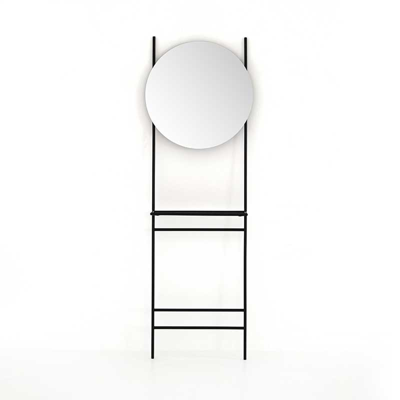 Isaiah Entryway Mirror from Four Hands Furniture simple black iron frame and round mirror