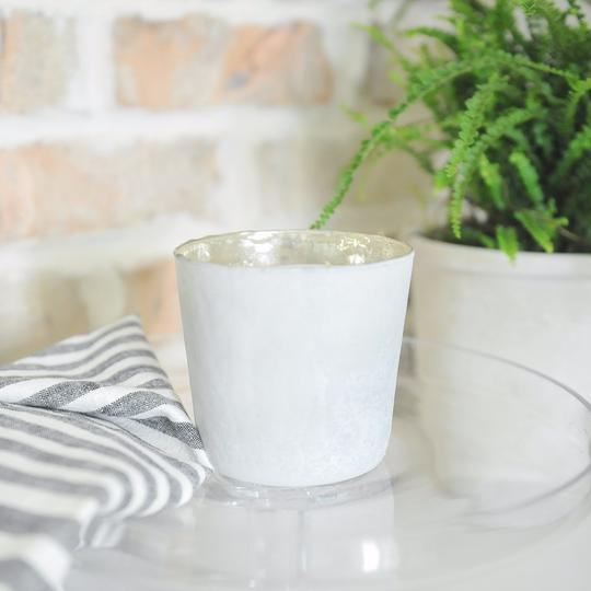 Steel City double wick white mercury glass candle from Crave Candles Company