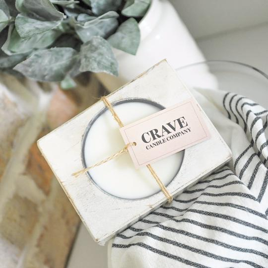 Cheese mold single candle in cream colored container from Crave Candles Company