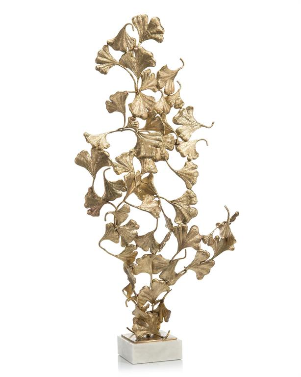 Gingko Leaves on White marble sculpture John-Richard