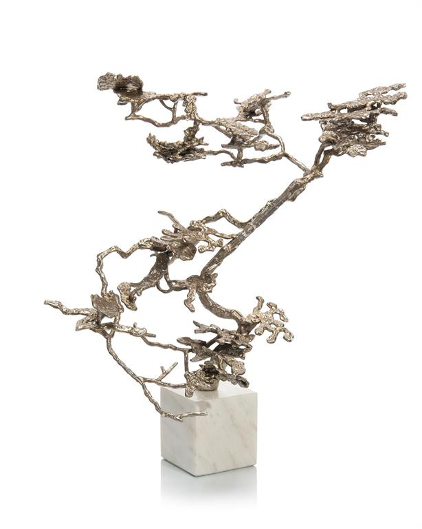 Bonsai in Silver sculpture on marble base John-Richard