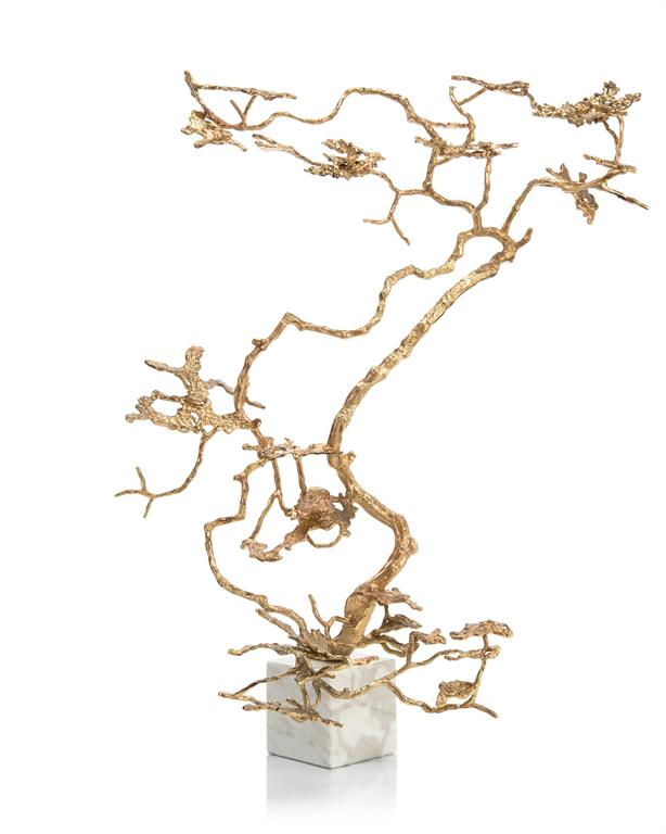 Bonsai in Gold Sculpture on marble base John-Richard
