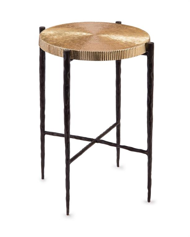 Black oxidized and gold accent table from John-Richard Collection