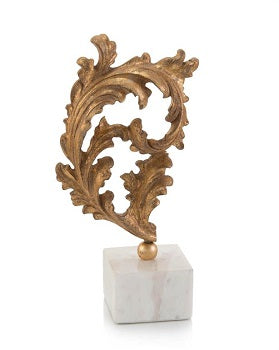 Gold baroque leaf sculture on marble from John Richard Collection