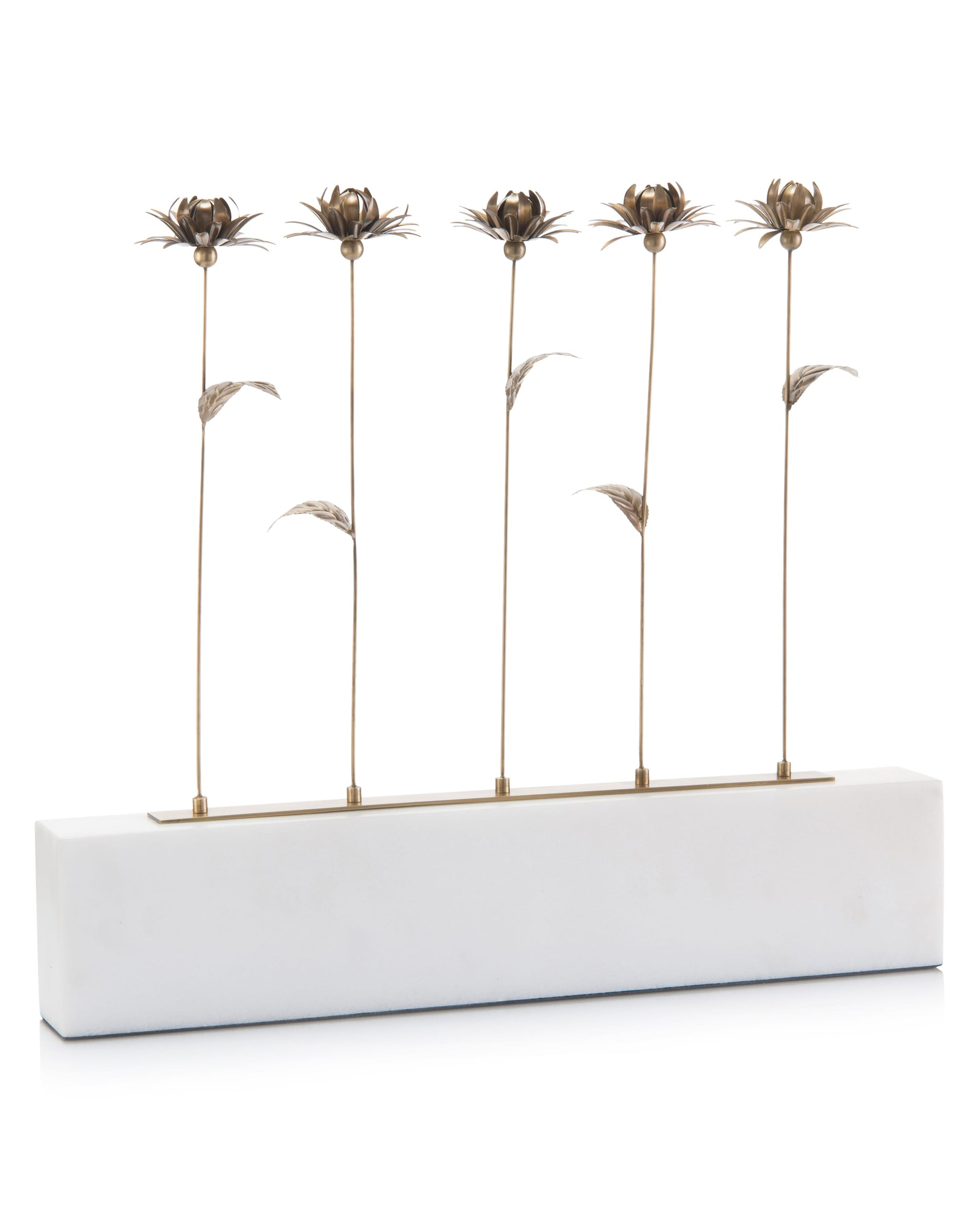 Antique Brass Blooms mounted on a marble base from John-Richard Collection