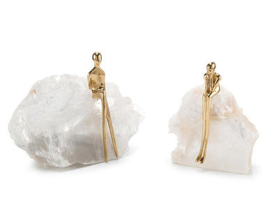 Contemplation Set of 2 Figurines on Selenite John-Richard Collection