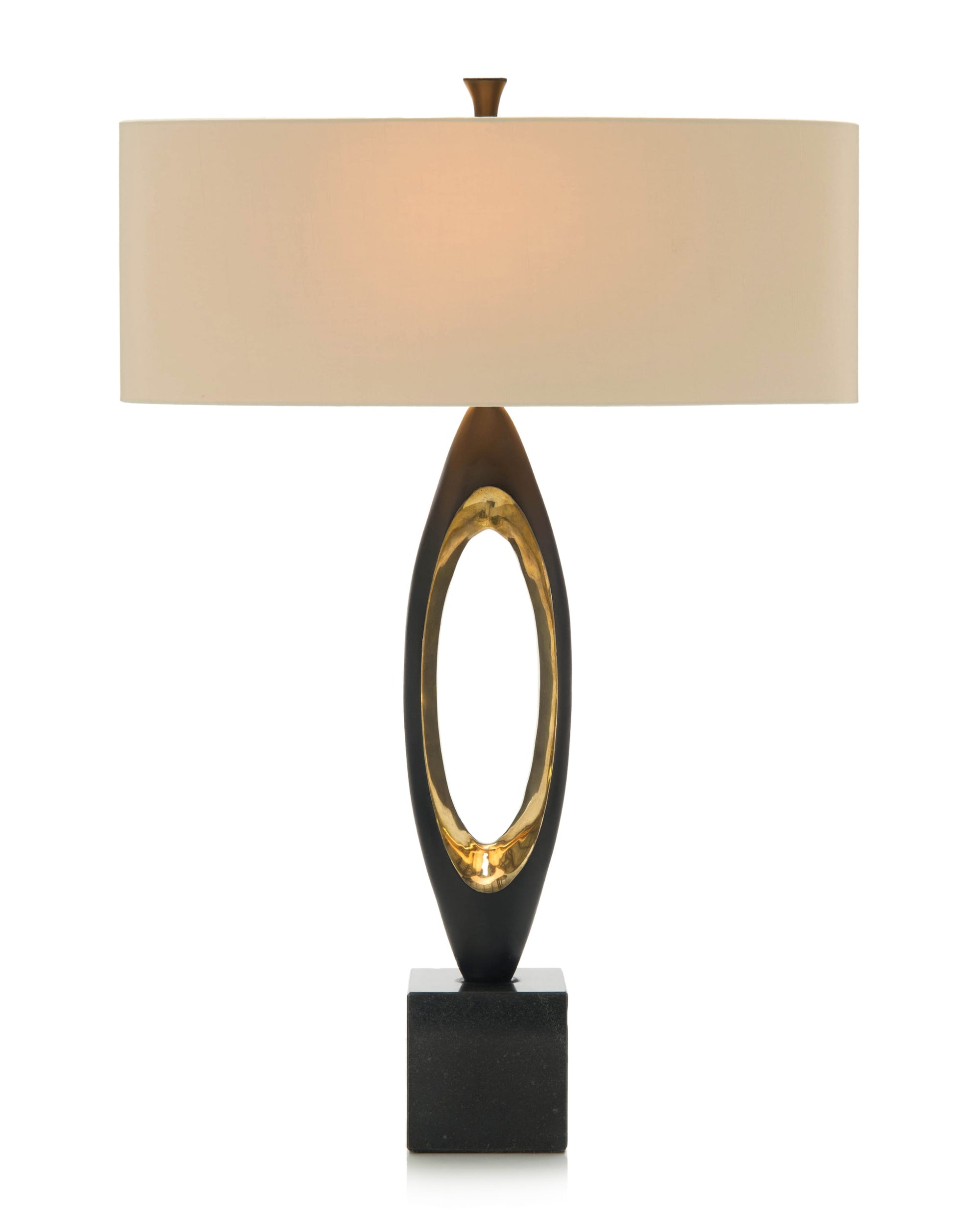 Matte black and brass plated table lamp from John-Richard Collection