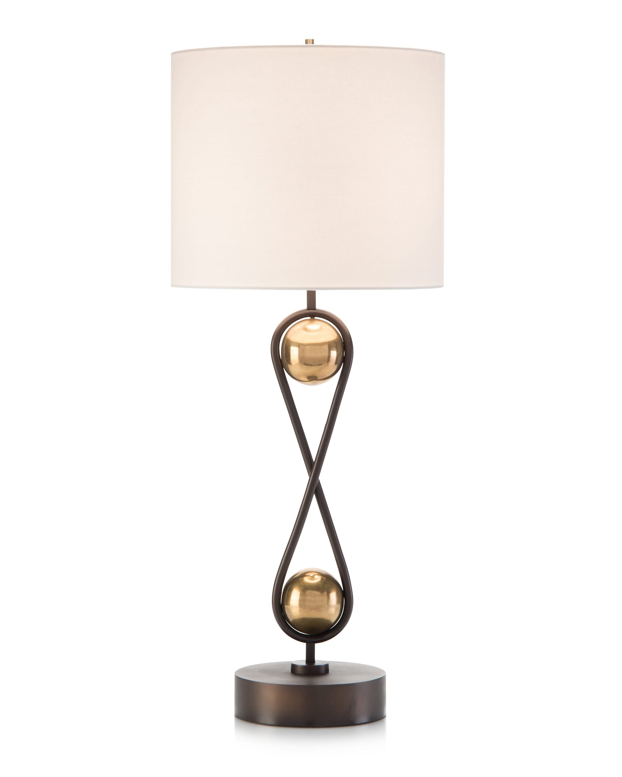 Brass spheres suspended in antique bronze loops table lamp from John-Richard