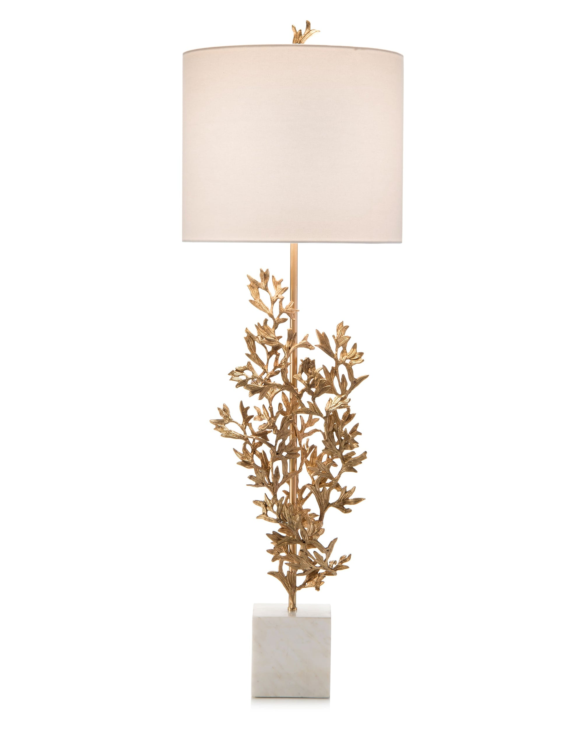 Brass sculpted botanical lamp from John-Richard