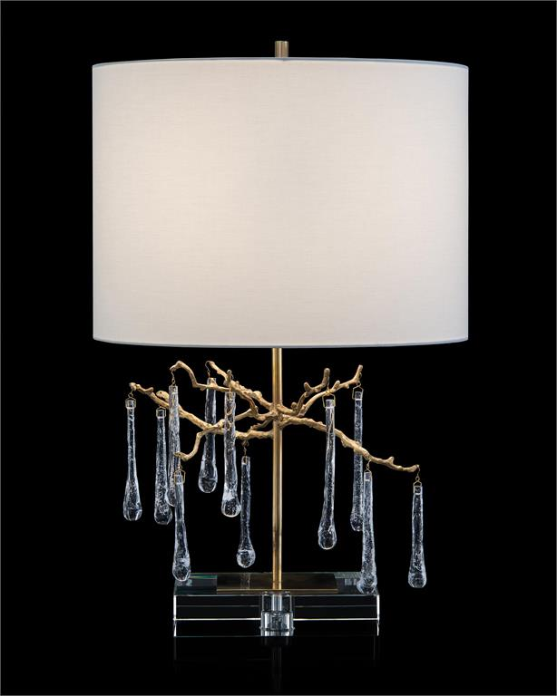 Branched crystal table lamp with organically formed branches, handblown glass teardrops.