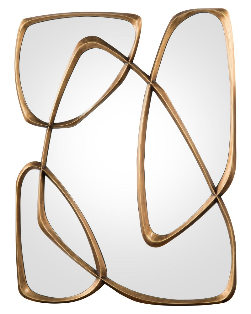 Zeta mirror in Mayan Bronze with organic shape frame from John-Richard Collection
