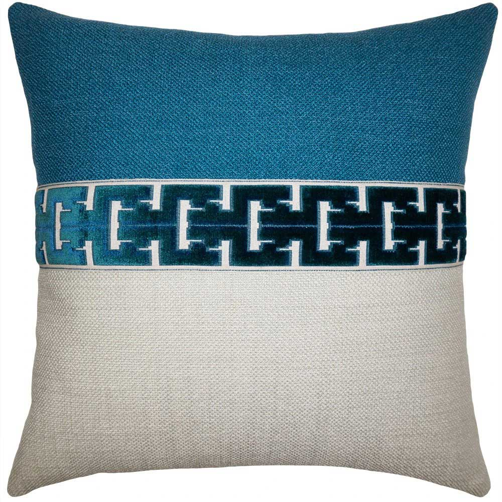Jager Aqua Decorative Pillow Square Feathers