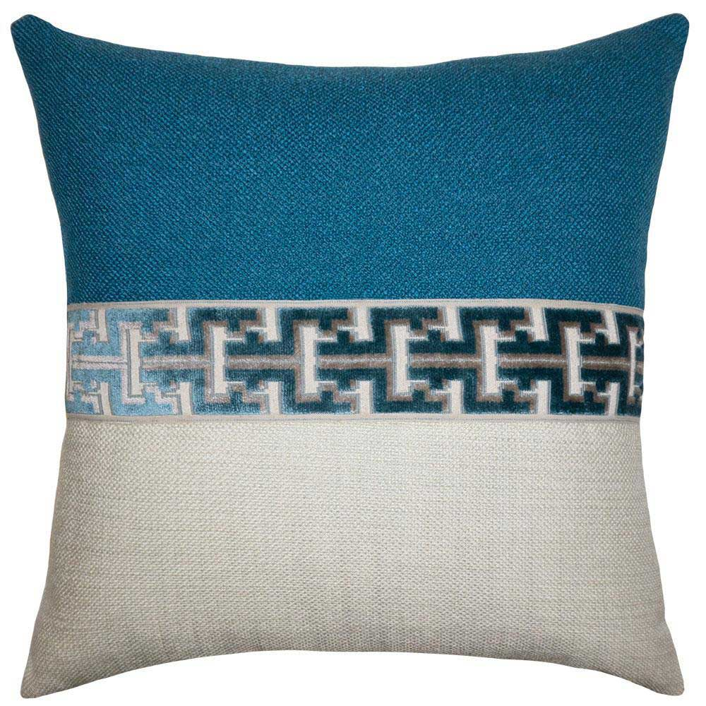 Jager Atlantic Blue Square Feathers Pillow Harley Butler Trading Company