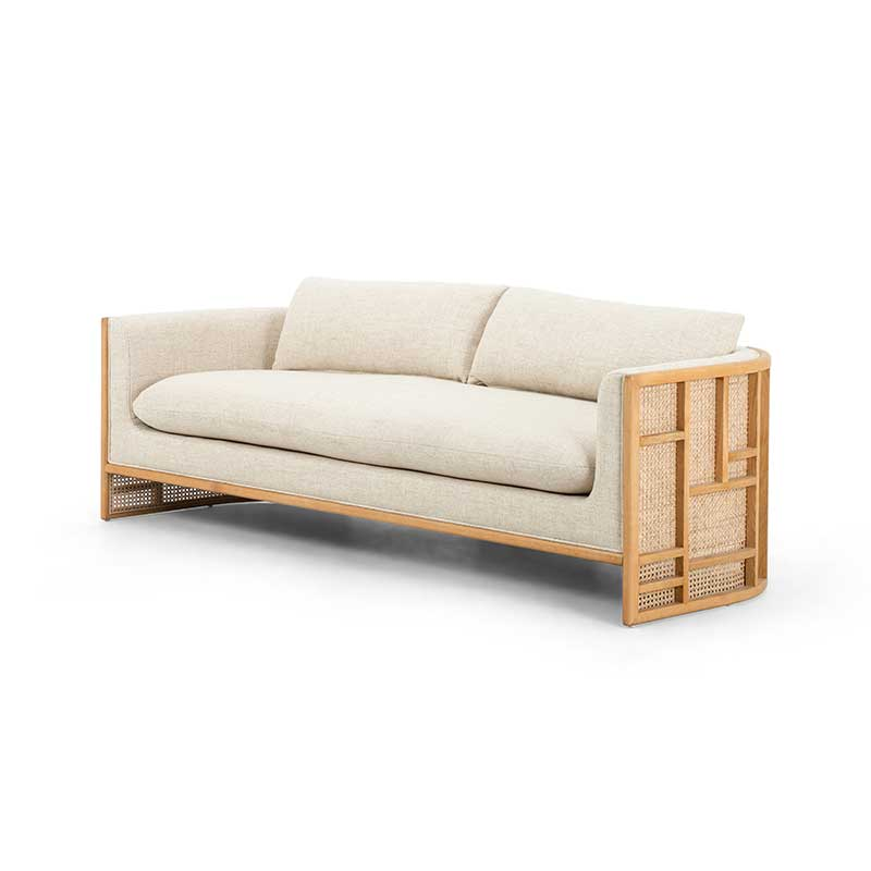 June Sofa in natural oak and rattan paneling from Four Hands