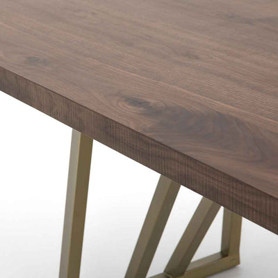 Kapri Dining Table Walnut Top and Antique Bronze Legs Four Hands Mid View