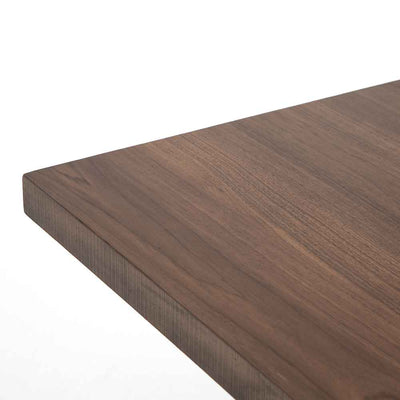 Kapri Dining Table Walnut Top and Antique Bronze Legs Four Hands Corner Detail