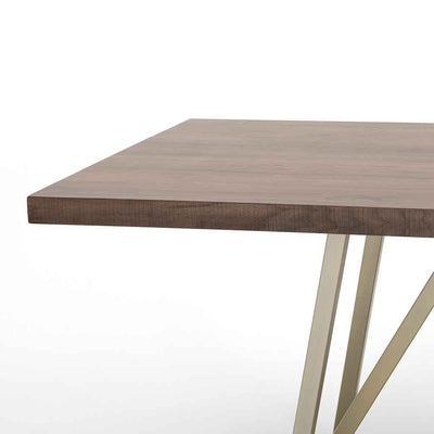 Kapri Dining Table Walnut Top and Antique Bronze Legs Four Hands Edge View
