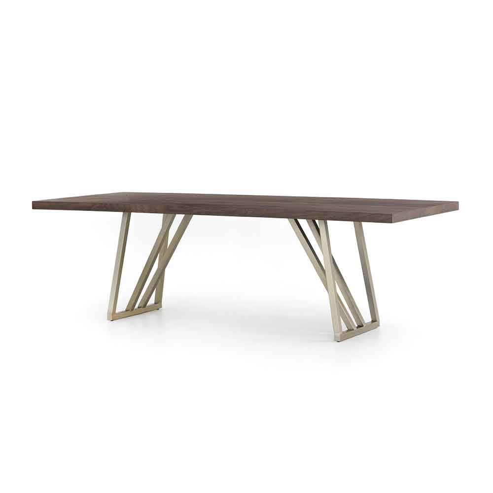 Kapri Dining Table Walnut Top and Antique Bronze Legs Four Hands