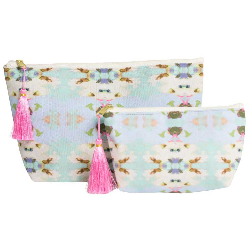 Summar Garden Light Blue Cosmetic Bag Laura Park Designs