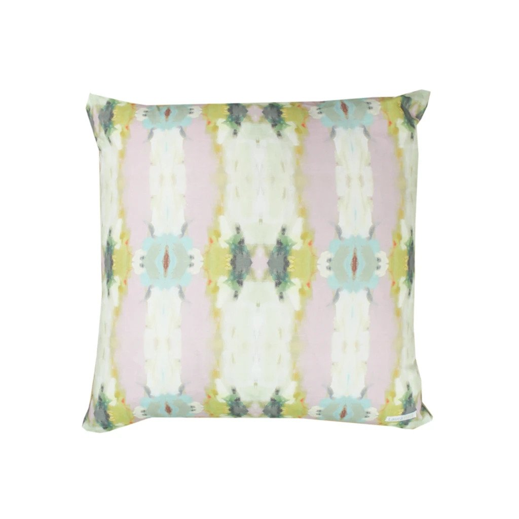 Orchid Blossom Light Blue Cotton Linen Pillow Laura Park Designs Square