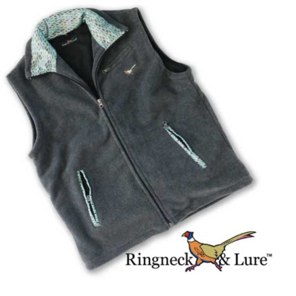 Lake Lures Teal Graphite Gray Fleece Vest Ringneck & Lure
