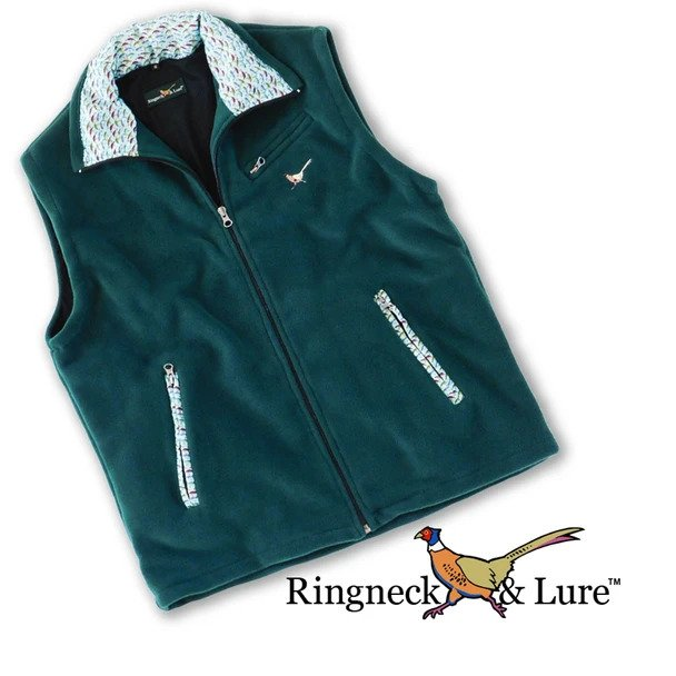Lake Lures Teal and Hunter Green Fleece Vest Ringneck & Lure