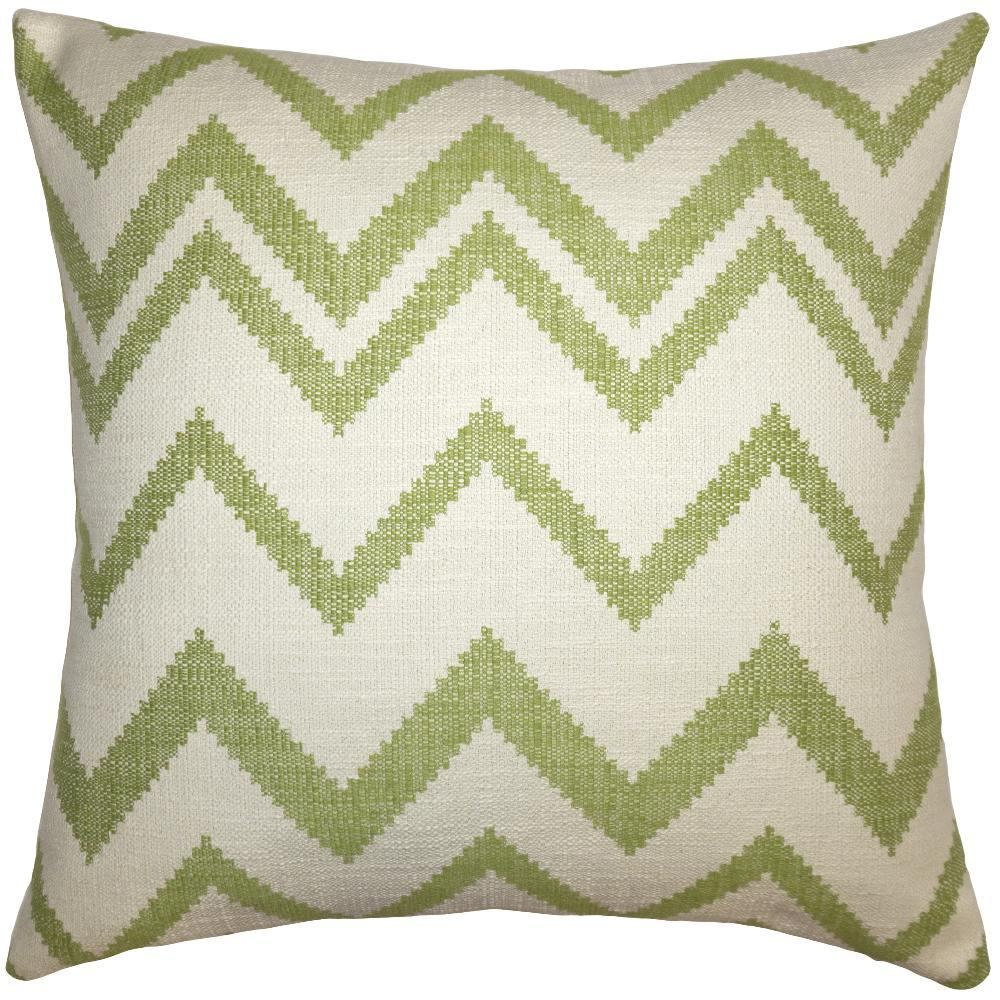 Lime Chevron throw pillow has lime-green chevrons on a field of off-white from Square Feathers