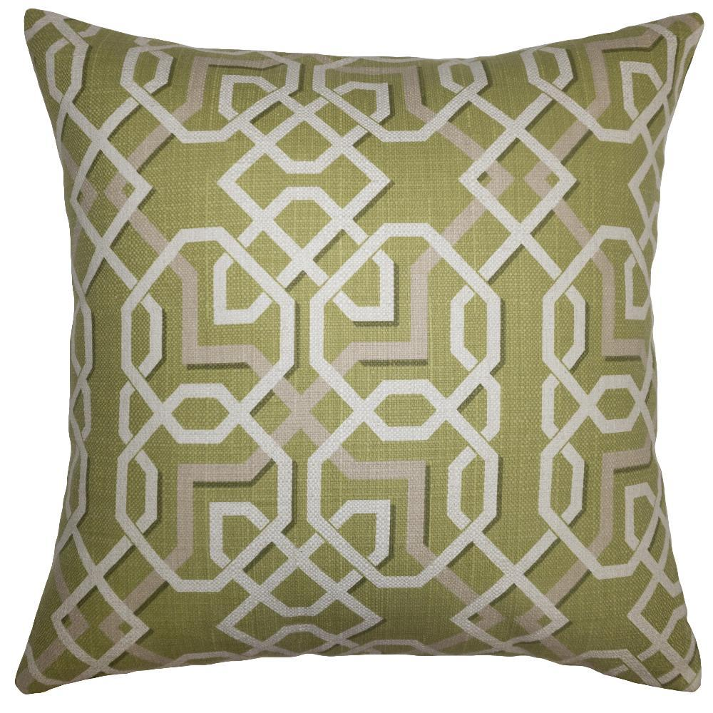 Lime Maze throw pillow adds 3-D feel with a geometric pattern on a green field from Square Feathers