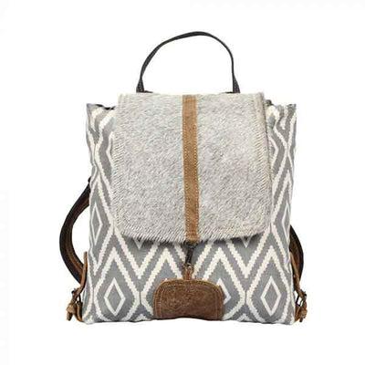 Artist Impression Backpack Bag of upcycled canvas with hairon flap from Myra Bag