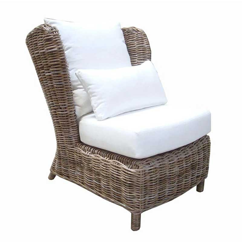 Majorca Lounge Chair in washed-out Kubu rattan for your sunroom or home from Padma's Plantation
