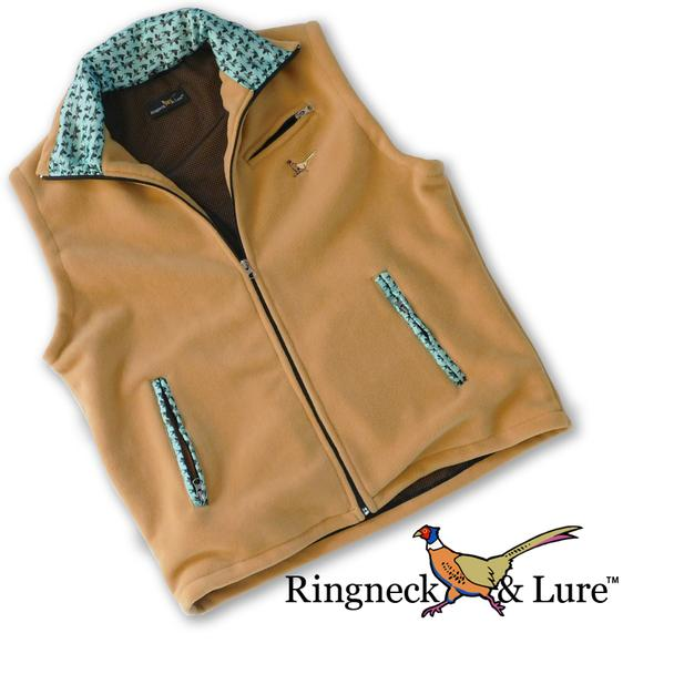 Mallards Camel Aqua Fleece Vest Ringneck & Lure