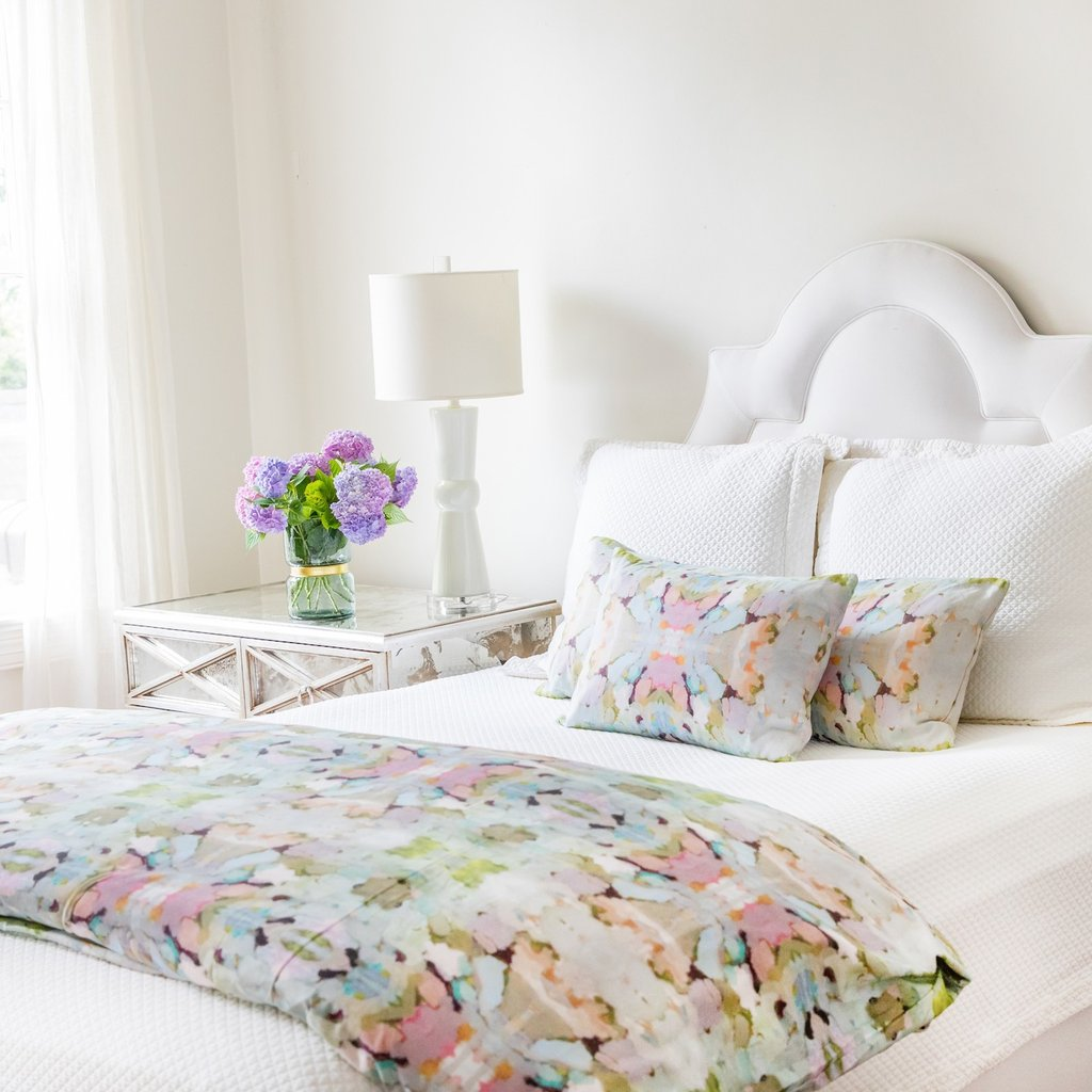 Martini Olives duvet cover in a variety of soft colors from Laura Park Designs