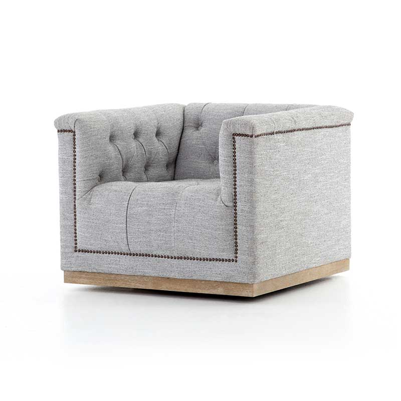 Maxx Swivel Chair in Manor Grey fabric from Four Hands